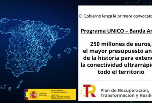 El Programa UNICO destina 6,3 millones de euros para desplegar la banda ancha de alta velocidad en la provincia de Teruel